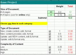 an excel template for planning documentation project writing