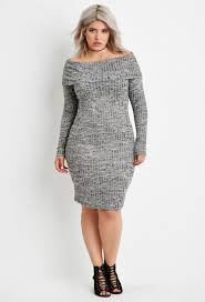 plus sweater dress lyst forever 21 plus size the shoulder sweater dress in black