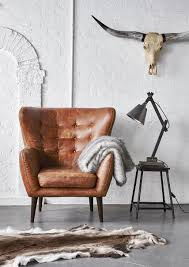 White Leather Armchairs In A Beautiful Vintage Inspired Outback Tan Leather The Tobin