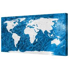 World Map Framed Canvart Ice World Map Framed Canvas Wall Art Picture Free Delivery