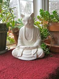 Cement Garden Decor Buddha Cat Statue Meditating Cat White Concrete Buddhism Cat