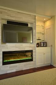 Custom Electric Fireplace custom fireplace wall with movable cabinetry and dimplex blf50