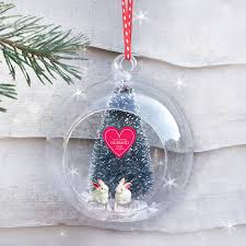personalised romantic christmas rabbits glass bauble by sweet