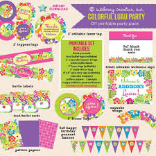 luau birthday party colorful luau birthday party diy printable party pack inkberry