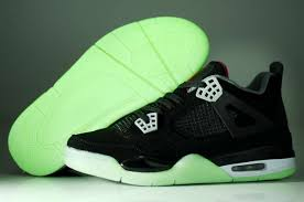 green glow 4 nike jordans 4 iv mens black green glow in the air air
