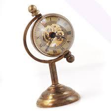 mechanical desk clock steunk brass tone copper case ball skeleton mechanical desk