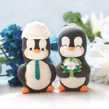 birds wedding cake toppers custom penguin bird wedding cake toppers with construction