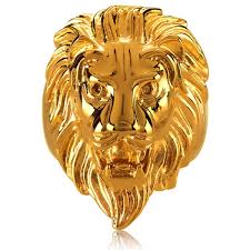 acrylic lion ring holder images Shop crucible men 39 s gold plated polished stainless steel lion head jpg