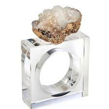geode napkin ring set white current home