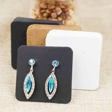 cardboard earrings 100pcs diy black paper jewelry stud earring tag card white black