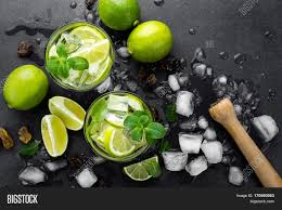 green cocktail black background summer mint lime refreshing image u0026 photo bigstock