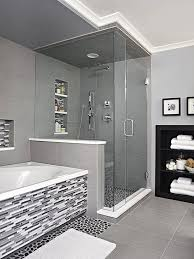 black and white bathroom ideas river rock floor vanity