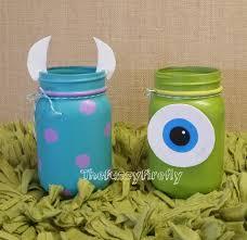 set of 2 monsters inc inspired mason jar centerpiecesmason