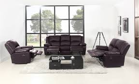 Recliner Leather Chairs Breah 3 Piece Air Leather Chair Recliner Set In Black Sofamania Com