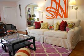 decorating with rugs on floral pillow purple