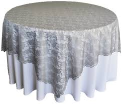Silver Lace Table Overlays Topper Wedding