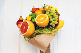 bouquet of fruits the original edible bouquet of fruits stock photo image