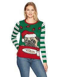 ugly christmas sweater women u0027s light up pug w cookies and milk at