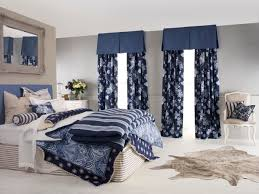 nice master bedroom decors with blue accent modern drapes for