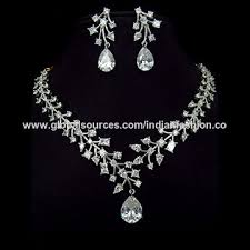 zirconia necklace set images India cubic zirconia diamond necklace set from kolkota wholesaler jpg