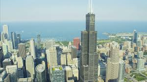 willis tower chicago aerial day view of willis tower chicago river illinois
