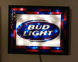 bud light lighted sign coca cola sign hand painted stained glass look shadow box