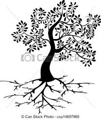 black tree with roots silhouette black tree icon and roots