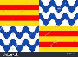 Barcelona Spain Flag Flag Badalona Municipality Immediate North East Stock Illustration