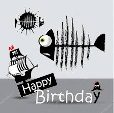 happy birthday card pirate fish funny u2014 stock vector novkota1