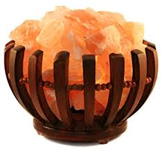 himalayan glow ionic crystal salt basket l himalayan salt l rose wooden shaped basket amazon com