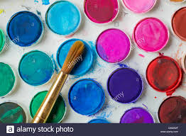 close up of water color paint box and paint brush stock photo