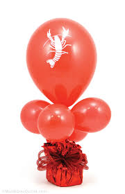 Balloons On Sticks Centerpiece by Party Ideas By Mardi Gras Outlet Crawfish Balloon Centerpiece
