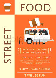 street food festival invitation in flat style culinary city event