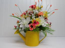 watering can arrangement yellow watering can spring and summer