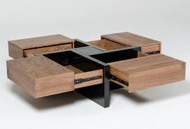 modrest makai modern walnut u0026 black square coffee table