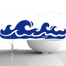 beach seaside wall stickers iconwallstickers rolling waves solid print the beach wall stickers bathroom home art decals