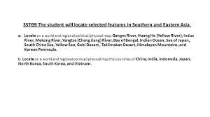 Blank Physical Map Of South Asia by Ss7g9 The Student Will Locate Selected Features In Southern And
