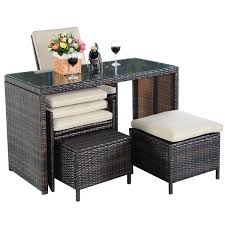5 pcs brown patio cushioned rattan dining table chair set