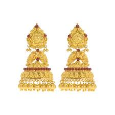 gold earrings for marriage 22k gheru peacock gold jhumkas raj jewels