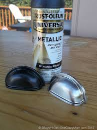 how to spray paint kitchen handles updating your kitchen hardware diy project 2 boys 1
