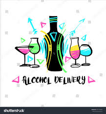 vector free hand drawn logo alcohol stock vector 471723098