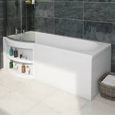 orchard myspace water saving left handed p shaped shower bath with