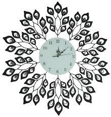 Decorative Metal Wall Clocks Decorative Leaf Metal Wall Clock Black