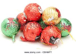 foil wrapped chocolate balls stock photo royalty free