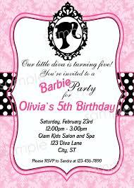 Barbie Birthday Invitation Cards Barbie Birthday Invitations Afoodaffair Me