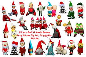elf on a shelf u0026nordic gnomes clipart illustrations creative market