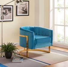 Aqua Accent Chair by Carter Accent Chair 515 In Aqua Velvet By Meridian