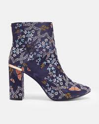 womens navy ankle boots uk kyoto gardens heeled ankle boots navy shoes ted baker uk