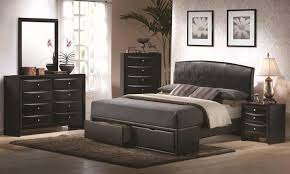 Black Upholstered Headboard Briana Queen Contemporary Black Upholstered Headboard U0026 Storage