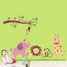 cartoon lovely animal lion monkey giraffe elephant zoo removable